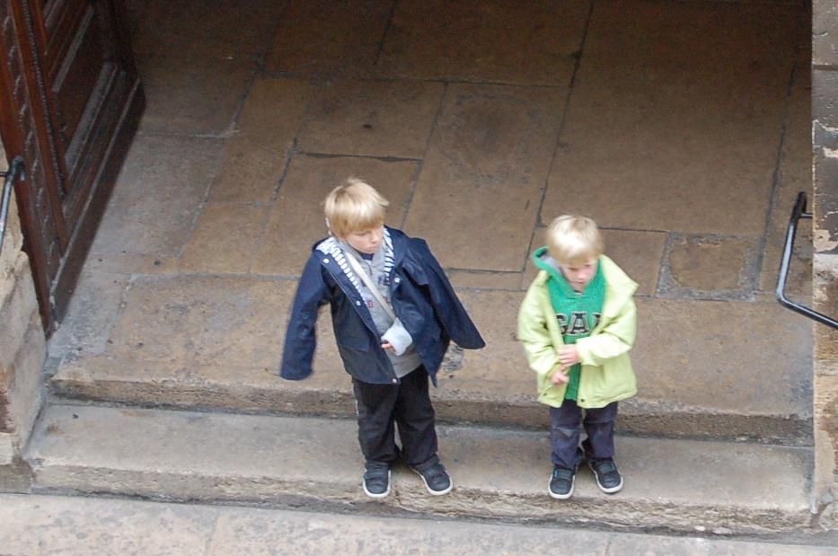 boy on church steps