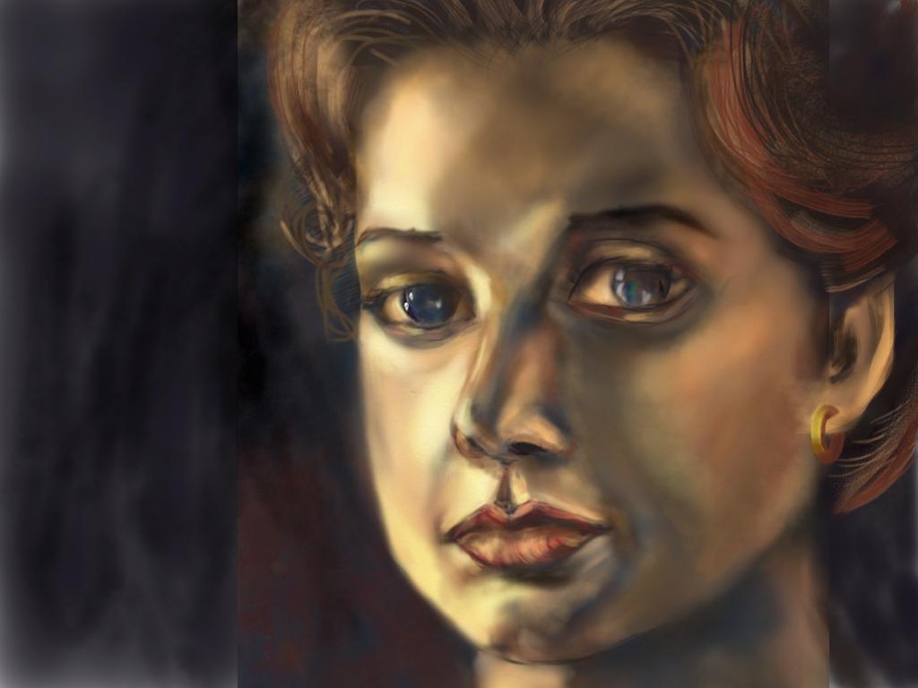 "Margaret,  iPad ""painting,"" my illustration"